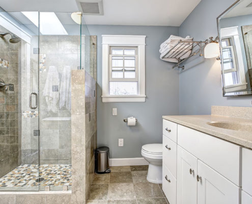 Bathroom remodel with glass shower