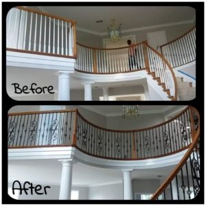 Before and after railing photos