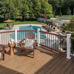 Deck addition with pool in backyard