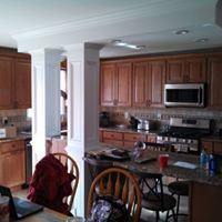 Kitchen remodel with pillars