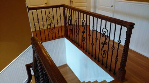 Iron stair railing remodel