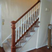 Wooden stair railing remodel