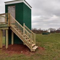 Home contractors building a railing
