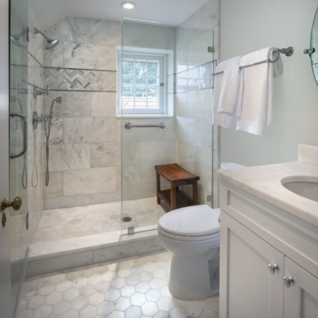 Marble shower and vanity bathroom