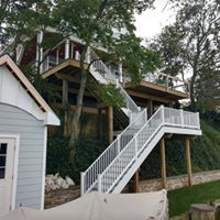 Deck addition on house