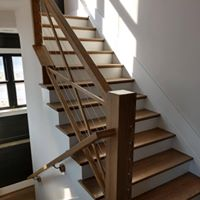 Modern railing on staircase