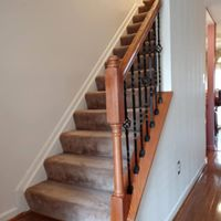 Railing remodel on carpeted stairs