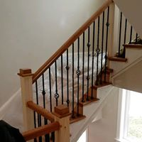 Contractors work on stair remodel