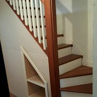 Wooden stair railing remodel