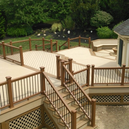 Large deck addition in backyard