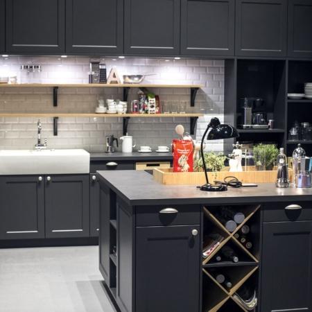 Dramatic kitchen design with wine storage