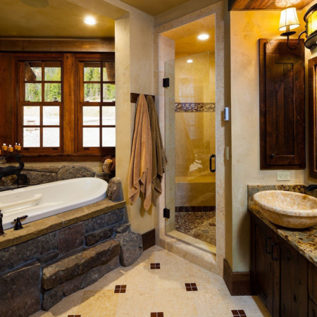 Rustic bathroom vanity and tub.