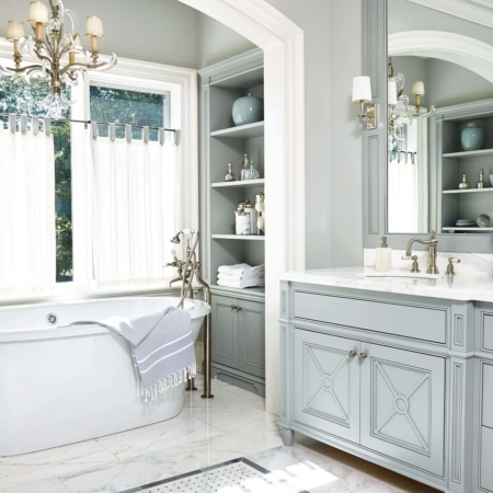 Traditional bathroom design and remodel.