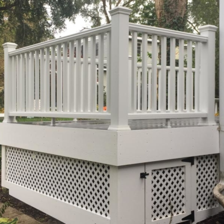 Deck with vinyl white lattice underneath