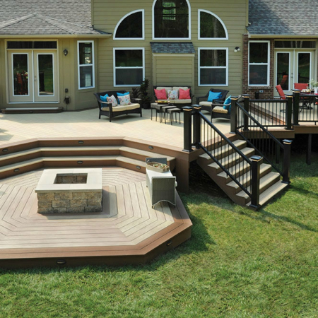 Large deck remodel with firepit