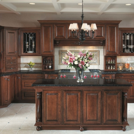 Wood cabinets in kitchen