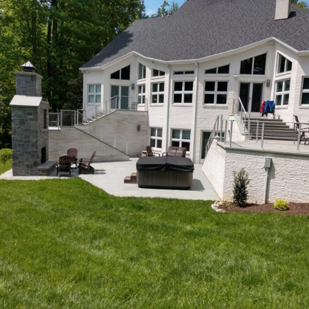 Deck addition with modern railing