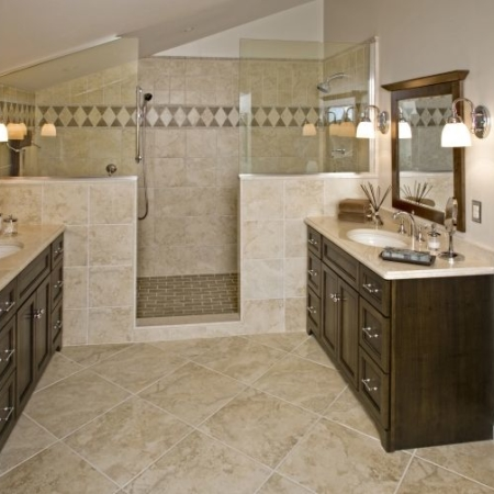 Warm toned bathroom remodel