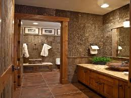 Rustic bathroom remodel with wood cabinets