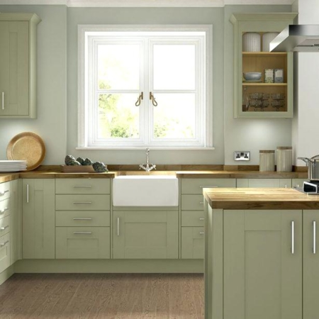 Light green kitchen design and remodel