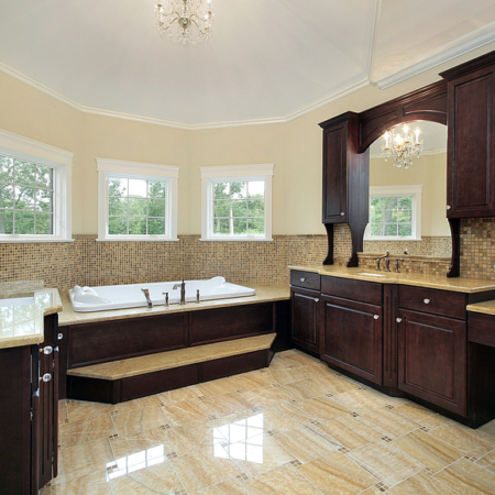 Large bathroom design with woodwork bathroom cabinets
