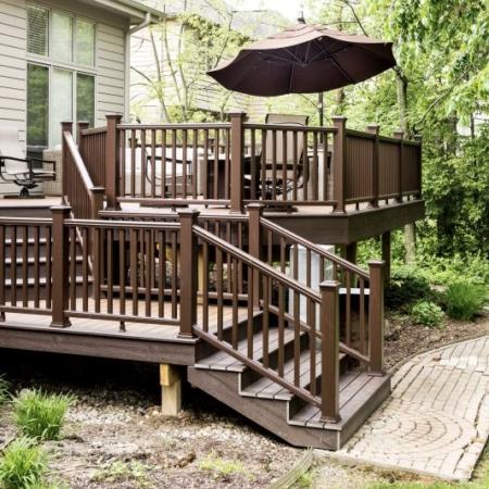 Wood deck addition