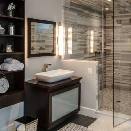 Small bathroom remodel with modern shower.