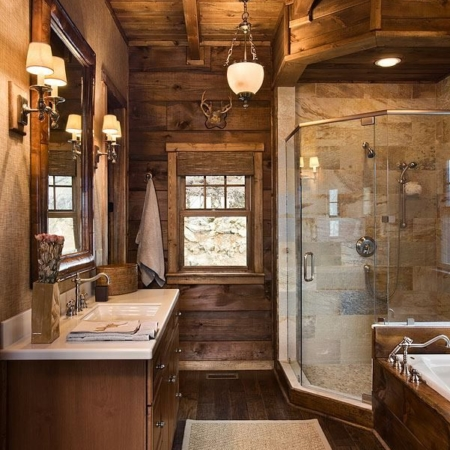 Rustic bathroom remodel and design