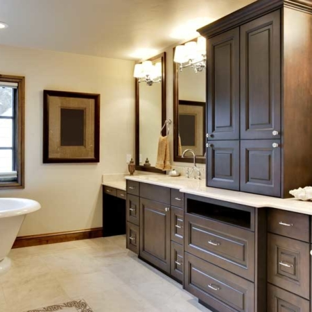 Wood cabinets in a bathroom