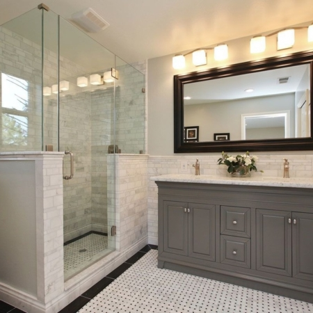 Traditional bathroom vanity and glass shower- bath remodel.